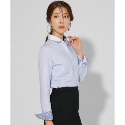 【プランティカ】形態安定ノーアイロン クレリックラウンド衿 長袖ビジネスワイシャツ