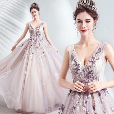 ANGEL ノースリーブ 肌透け フラワー ビーズ チュール 背中編上げ プリンセス Aライン ロングドレス ラベンダー パープル 紫