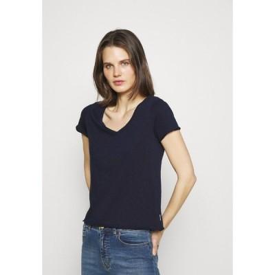 マルコポーロ デニム Tシャツ レディース トップス SHORT SLEEVE V NECK - Basic T-shirt - scandinavian blue