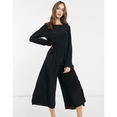 エイソス レディース ワンピース トップス ASOS DESIGN long sleeve button back tea jumpsuit in black