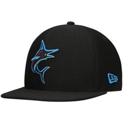 ニューエラ メンズ 帽子 アクセサリー Miami Marlins New Era Batting Practice 59FIFTY Fitted Hat Black