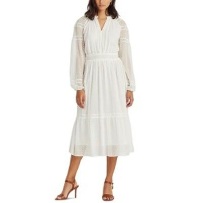 ラルフローレン レディース ワンピース トップス Petite Polka-Dot Lace-Trim Dobby Dress White