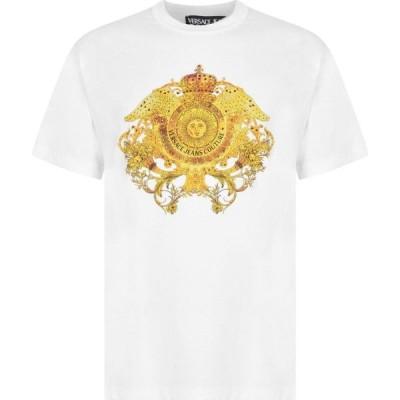 ヴェルサーチ VERSACE JEANS COUTURE メンズ Tシャツ ロゴTシャツ トップス Crest Logo T Shirt White E