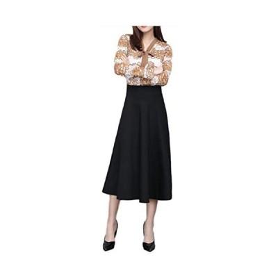 [エムズ ミミ]無地 シンプル ロング スカート ポケット 付き レディース 選べる長さ ブラック レッド M〜XXL (78 ブラック M)