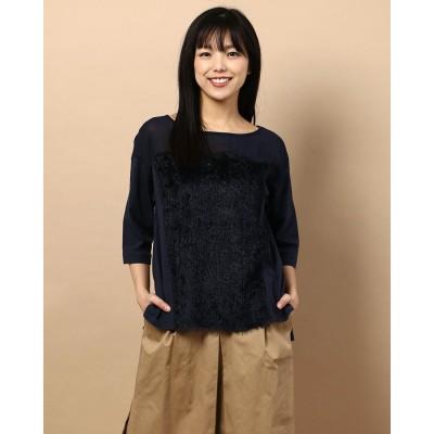 リネーム Rename フロントシャギーコットンTシャツ (ネイビー)