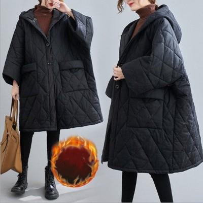 中綿コート コート レディース 冬 アウター ミディアム ロングコート 中綿 ゆったり 暖かい 体型カバー 大きいサイズ 体型カバー 防寒 フード付き 黒 40代