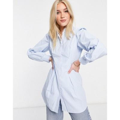 ミス セルフリッジ Miss Selfridge レディース ブラウス・シャツ トップス Pintuck Poplin Shirt In Blue Stripe ブルー