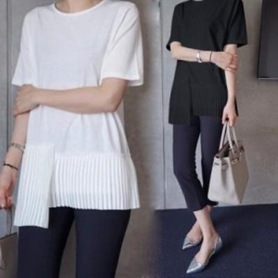 Tシャツ レディース きれいめ 40代 春夏 上品 半袖Tシャツ ブラウス 綿 白トップス プリーツ オシャレ 韓国風 大きいサイズ ゆったりカッ