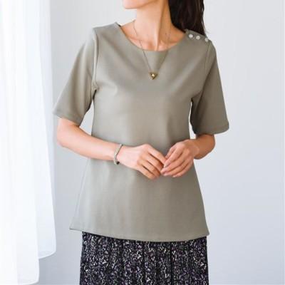 【ぽっちゃりさんサイズ】2枚仕立て5分袖Tシャツ(綿100%)/ソフトオリーブ/L