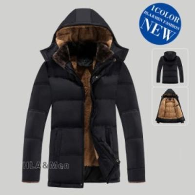 中綿コート メンズ ボアジャケット 裏起毛 厚手コート 無地 防寒コート フード付き 50代 ビジネス