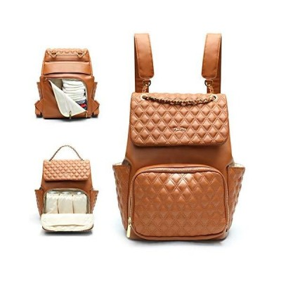 Leather Diaper Bag by miss fong,Diaper Bag Backpack, Baby Bag, Backpack Diaper Bags with Chaing Pad and Stroller Strap Diaper Bag Organizing