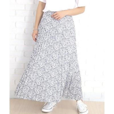 スカート 花柄ロングプリーツスカート
