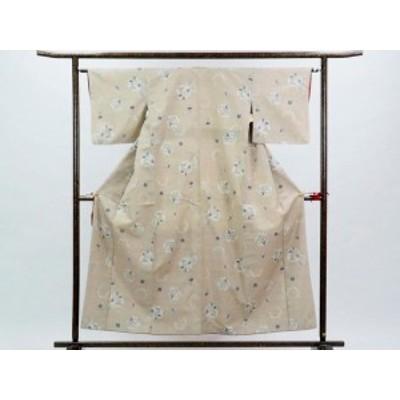 【中古】リサイクル紬 / 正絹薄茶地雪輪模様袷真綿紬着物 / レディース(古着 中古 紬 リサイクル品)