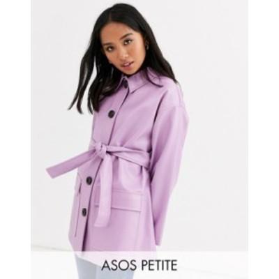 エイソス レディース ジャケット・ブルゾン アウター ASOS DESIGN Petite button through leather look belted jacket in lilac Lilac