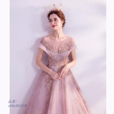 カラードレス 結婚式 ウェディング Aライン ピンク 演奏会 二次会 発表会 パーティードレス 結婚式 ロングドレス コンサート ウエディング 演奏会 披露宴