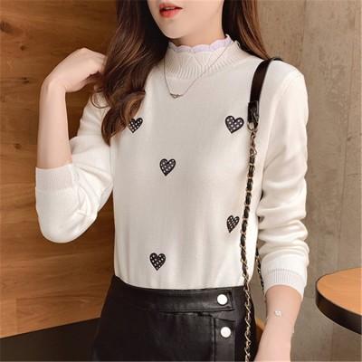 [55555SHOP]韓国風 頭 セーター 女 秋 新しい も柔ら暖かい  ヘアリー シンプル ニット セーター  ラブパターン