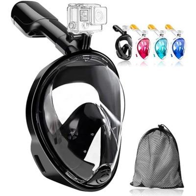 HEARTST シュノーケルマスク 新型フルフェイス型180°超広角 ダイビングマスクスポーツカメラ取付可能 シュノーケリング 楽に呼吸可能 調節可能