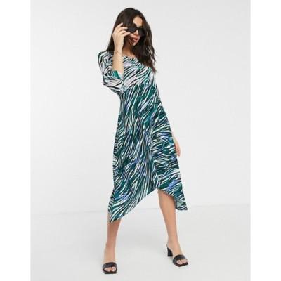 クローゼットロンドン レディース ワンピース トップス Closet wrap midi dress with puff sleve in mixed print