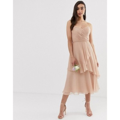エイソス レディース ワンピース トップス ASOS DESIGN Bridesmaid bandeau midi dress with soft layered skirt
