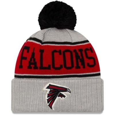 ユニセックス スポーツリーグ フットボール Atlanta Falcons New Era Stripe Cuffed Knit Hat with Pom - Gray - OSFA 帽子