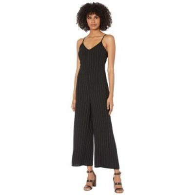 カップケーキアンドカシミア レディース ジャンプスーツ トップス Lana Pinstriped Crepe Spaghetti Strap Cropped Leg Jumpsuit Black