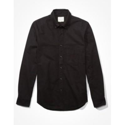 アメリカンイーグル メンズ シャツ トップス AE Slim Fit Oxford Button-Up Shirt Black