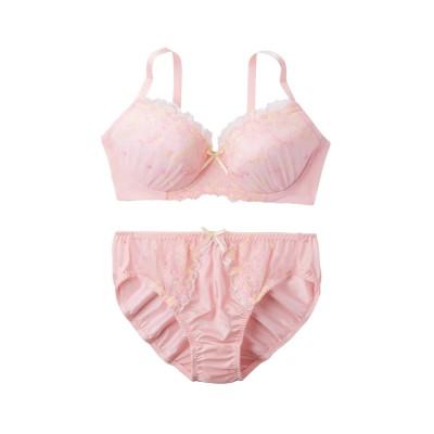 ガーリーリボン柄刺しゅうブラジャー・ショーツセット(ラージサイズ)(フリーサイズ) (ブラジャー&ショーツセット)Bras & Panties