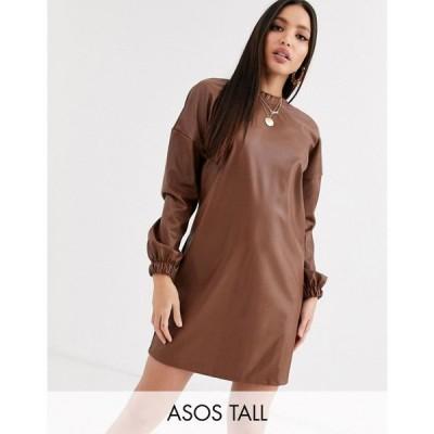 エイソス ASOS Tall レディース ワンピース ワンピース・ドレス asos design tall leather look open back sweat dress キャメル