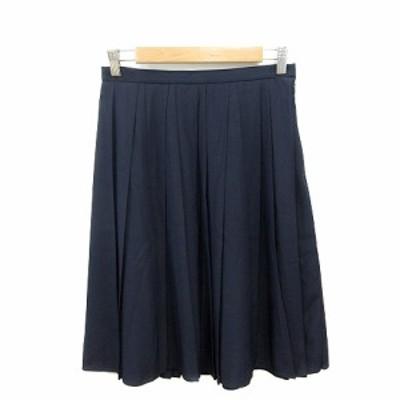 【中古】未使用品 セブンアイディコンセプト 7-IDconcept プリーツスカート ひざ丈 40 紺 ネイビー /ST レディース