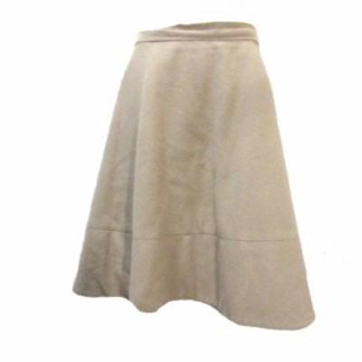 【中古】デミルクス ビームス Demi-Luxe BEAMS ウールビーバー フレアスカート ひざ丈 ベージュ 38 M X レディース