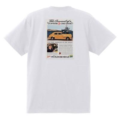 アドバタイジング オールズモビル 696 白 Tシャツ 黒地へ変更可 1941 ロケット アメ車 アドバタイズメント 看板 広告 雑誌