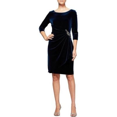 アレックスイブニングス レディース ワンピース トップス Stretch Velvet 3/4 Sleeve Ruched Sheath Dress Imperial