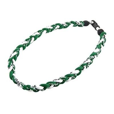 三つ編みゲルマニウムネックレス スポーツネックレス アスリートネックレス KY-5mm 緑白