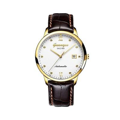 Guanqin Men Analog Fashion Rhinestone Automatic Self-Winding Mechanical Leather Band Wrist Watch Date Waterproof (Gold White Brown) 並行輸入品