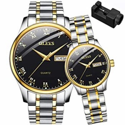 OLEVS His and Her Couple Watches Business Men Women Couple Set Pair Black Watch Matching Romantic Quartz Stainless Steel Waterpr
