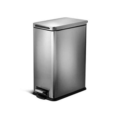 Home Zone Living VA41837A 30リットル / 8ガロン ステンレススチールゴミ箱 スリム長方形ペダル シルバー