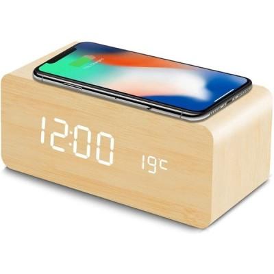 置き時計 QIワイヤレス充電機能 目覚まし時計 USB給電 android iphone 充電器 iPhone8以上対応 音声感知    説明書付き (ベージュ)