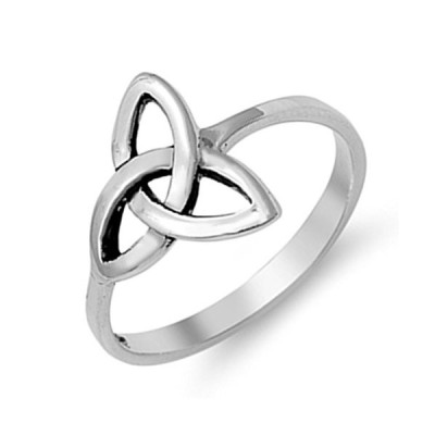 Celtic Trinity Knot Plain Simple Sterling Silver Ring Promise Band Siz