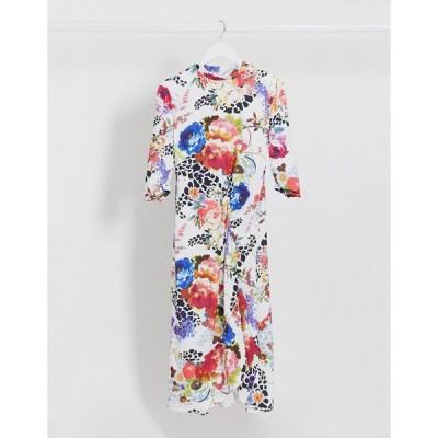 ヴィラ ミディドレス レディース Vila high neck dress with hi low hem in floral swirl エイソス ASOS