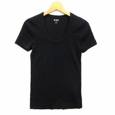 【中古】スリードッツ three dots ジェシカ スクープネック Tシャツ カットソー ストレッチ 半袖 無地 ブラック S Jessica SCOOP NECK