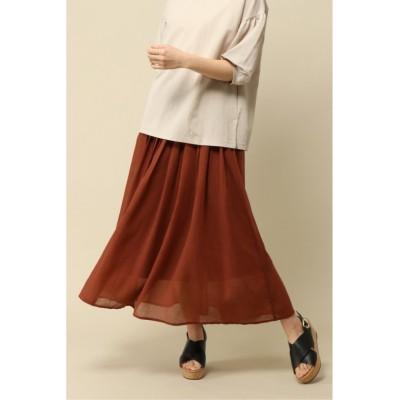 【イッカ】 ボイルギャザースカート レディース ブラウン L ikka