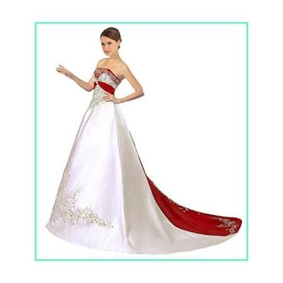 Snowskite Women's Strapless Satin Embroidery Wedding Dress 0 Ivory&Red並行輸入品
