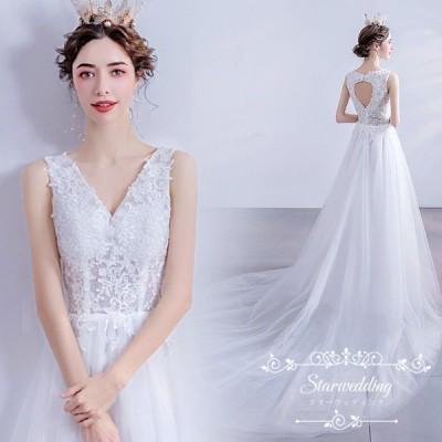 ウェディングドレス 二次会 花嫁ドレス 結婚式 ドレス パーティードレス Aライン おしゃれ シンプル ロングドレス 二次会 披露宴 フォーマル 大きいサイズ