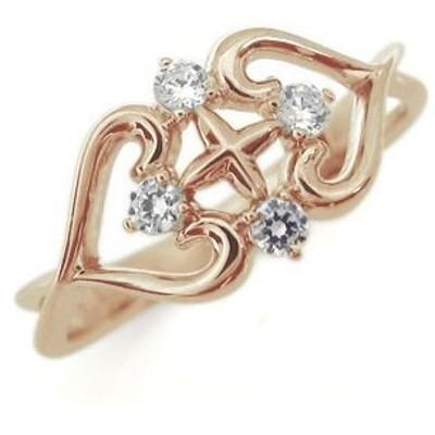 クロス リング 18金 ダイヤモンド リング 指輪