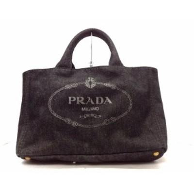 プラダ PRADA トートバッグ レディース 美品 CANAPA 1BG642 黒 デニム【中古】20200526