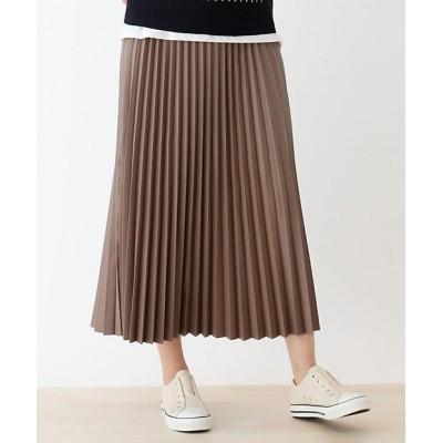 <SHOO LA RUE(Women)/シューラルー>【S-L】エコレザープリーツスカート ベージュ052【三越伊勢丹/公式】