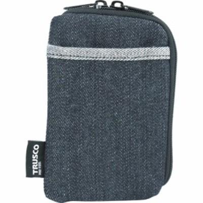 トラスコ デニムスマホケース 2ポケット ブラック (1個) 品番:TDC-S102