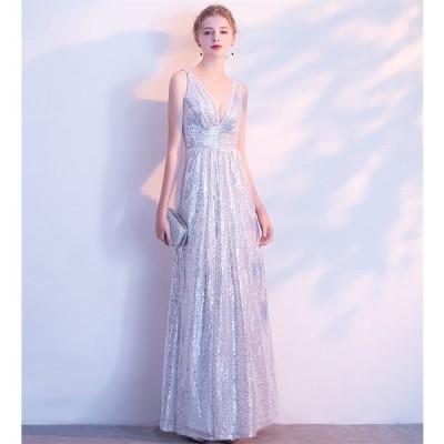 ロングドレス 結婚式 大きいサイズ パーティードレス 20代 30代 40代 パーティドレス ワンピース 二次会ドレス ウェディングドレス お呼ばれ ドレス[シルバー]