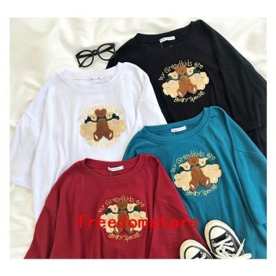 Tシャツレディース半袖くま韓国安いかわいいカジュアル夏