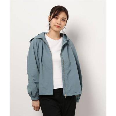 ジャケット ナイロンジャケット フード付ギャザーデザインジャケット